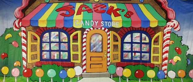 Mural candy shop 8 39 x 20 39 2343 props unlimited for Candyland wall mural