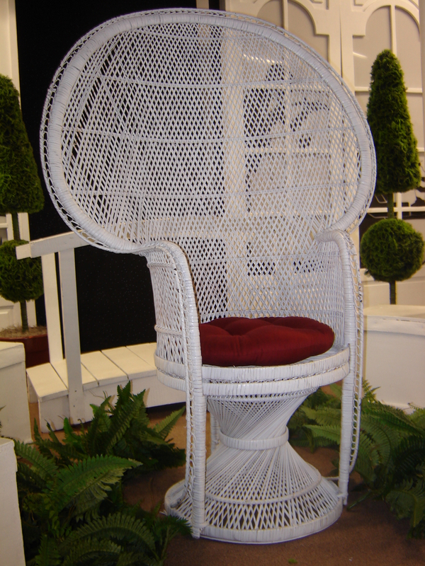 white wicker chair rental