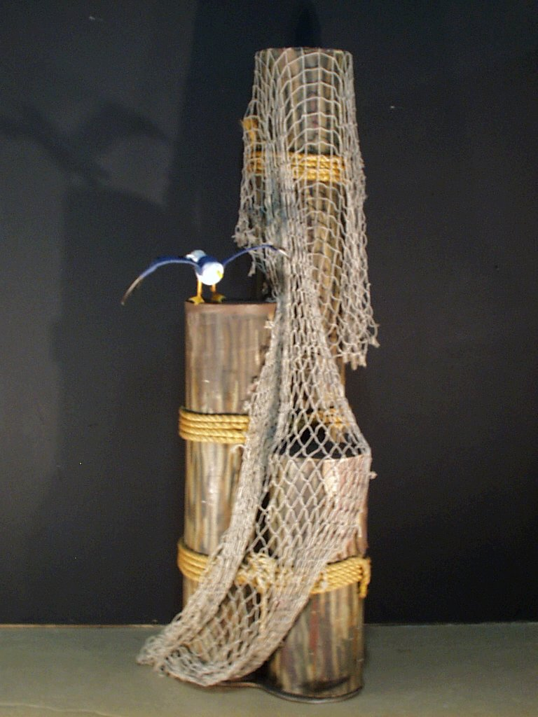 Set of pilings with fishnet amp seagull multiple sizes 1252 props