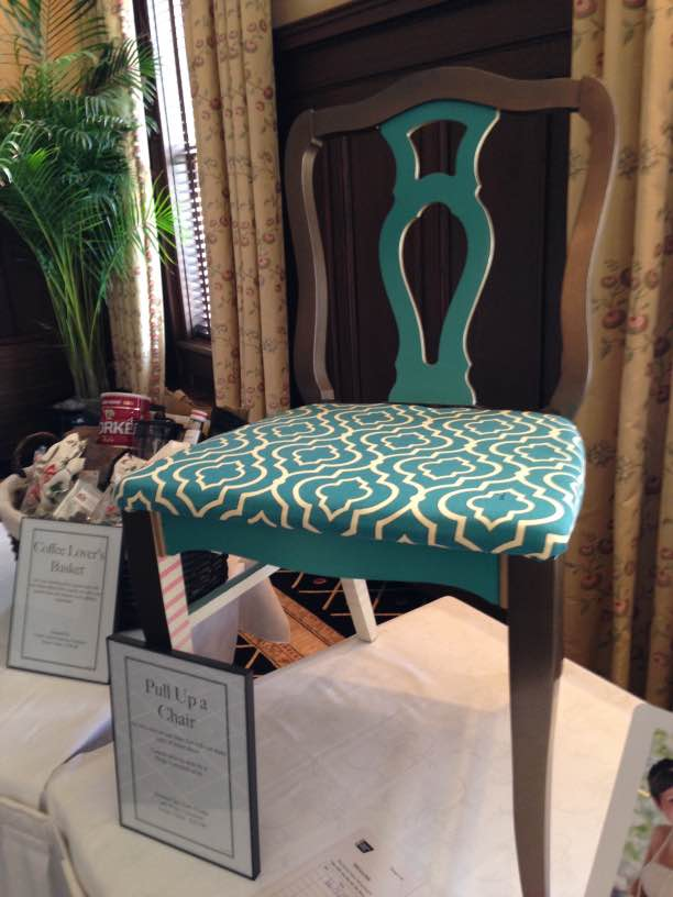 brown and teal custom chair